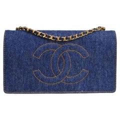 Chanel Vintage 90's Wallet On A Chain Denim & Lambskin Leather Cross Body Bag