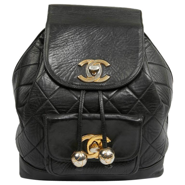 CHANEL Vintage Backpack In Black Leather