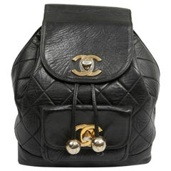 CHANEL Vintage Backpack In Black Leather
