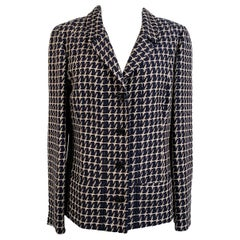 Chanel Vintage Beige Black Houndstooth Look Blazer Jacket