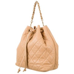 Chanel Vintage Beige Caviar Leather Backpack