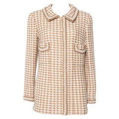 Chanel Vintage Beige Houndstooth Tweed Button Front Jacket L