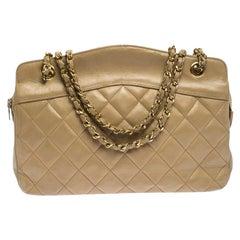 Chanel Vintage Beige Lambskin Quilted Shoulder Bag