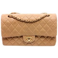 Chanel Vintage Beige Leather Medium Classic Double Flap Bag