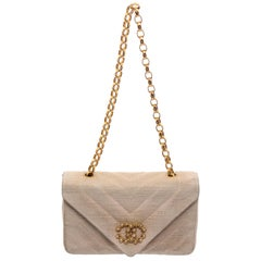 Chanel Vintage Beige Quilted Fabric CC Envelope Flap Bag