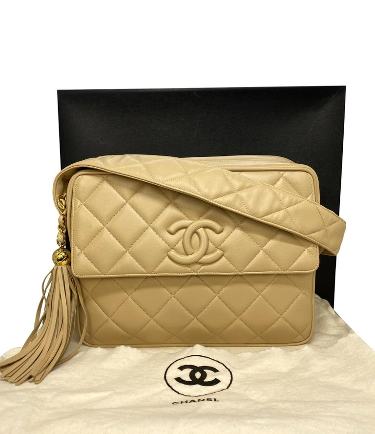 Brown  Chanel Vintage Beige Quilted Lambskin Leather Camera Bag with Gold Hardware For Sale