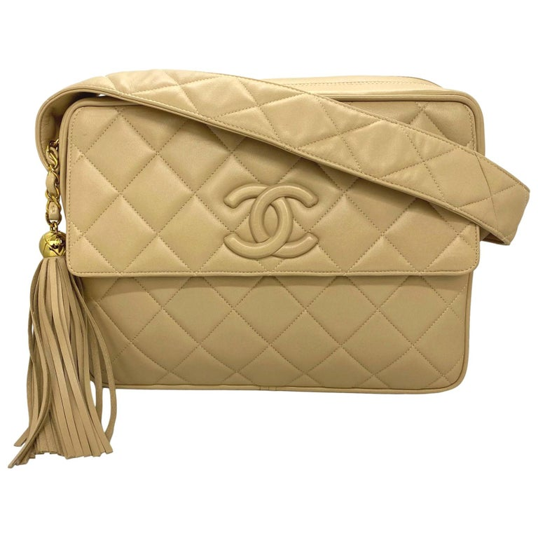 Chanel Vintage Beige Quilted Lambskin Leather Camera Bag with Gold Hardware For Sale