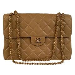 Chanel Vintage Beige Quilted Leather Double Face Shoulder Bag