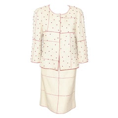 Chanel Vintage Beige Suit Embellished with Red Beads Throughout Jacket