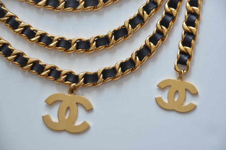 CHANEL Vintage Belt Double Chain With Large CC     Mint For Sale 5