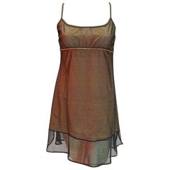 Chanel Vintage Black and Nude Slip Dress With Mesh Overlay