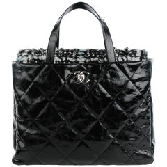 Chanel Limited Edition Soho Glazed Calfskin Quilted Tweed Flight Travel Tote Bag