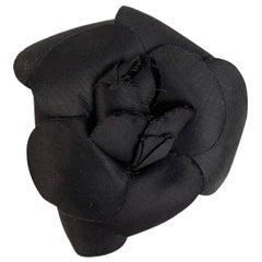 Chanel Vintage Black Camelia Camellia Flower Pin Brooch
