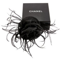 Chanel Vintage Black Camelia Pin  Brooch
