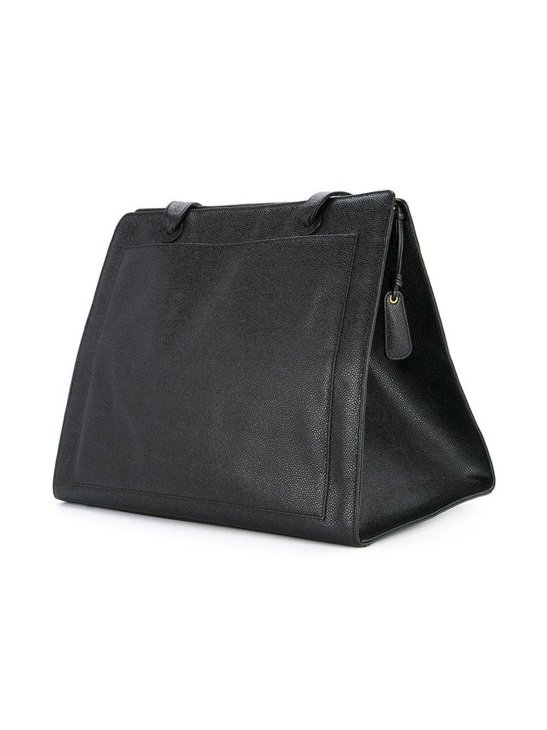 Chanel Vintage Black Caviar Large Work Business CC Tote In Good Condition For Sale In Miami, FL