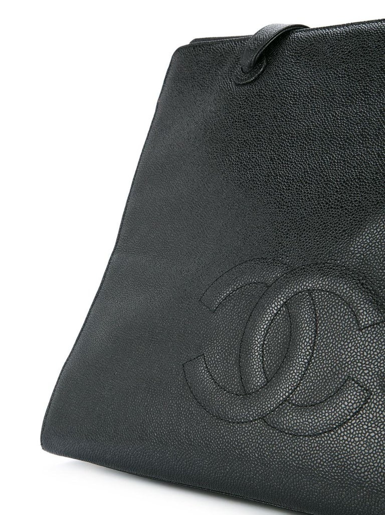 Women's or Men's Chanel Vintage Black Caviar Large Work Business CC Tote For Sale