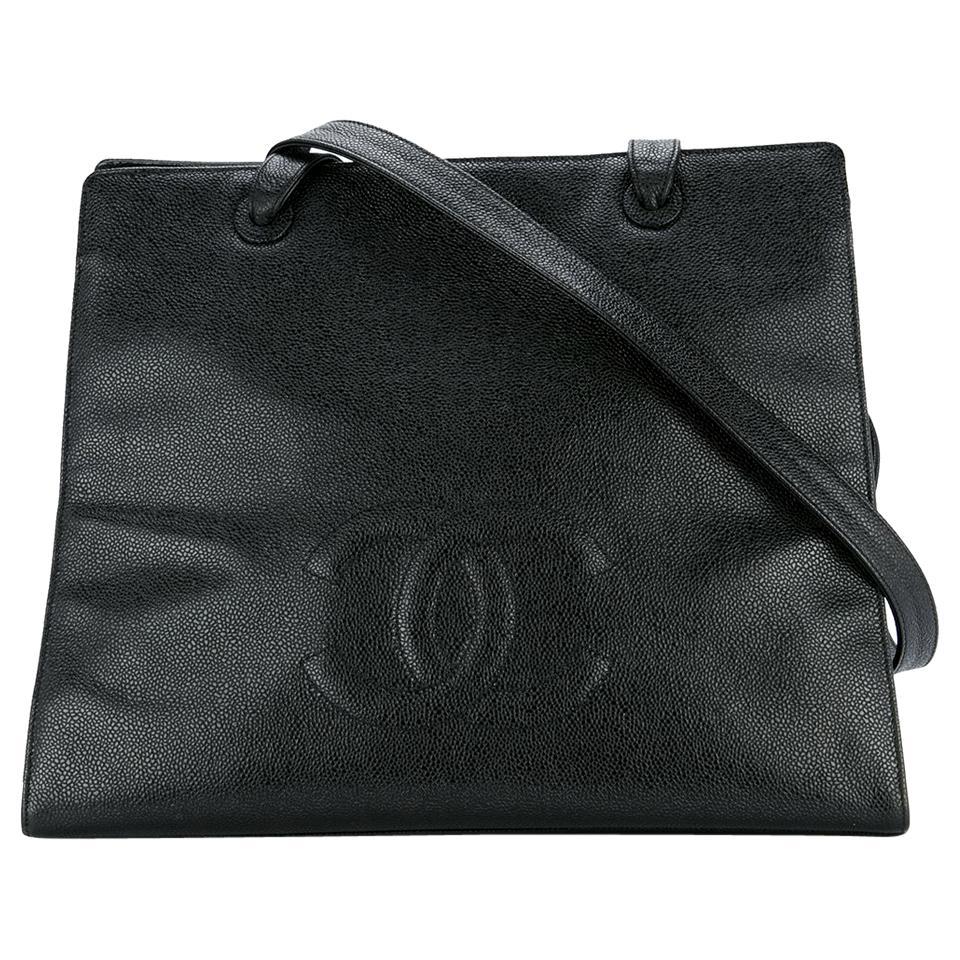 Chanel Vintage Black Caviar Large Work Business CC Tote