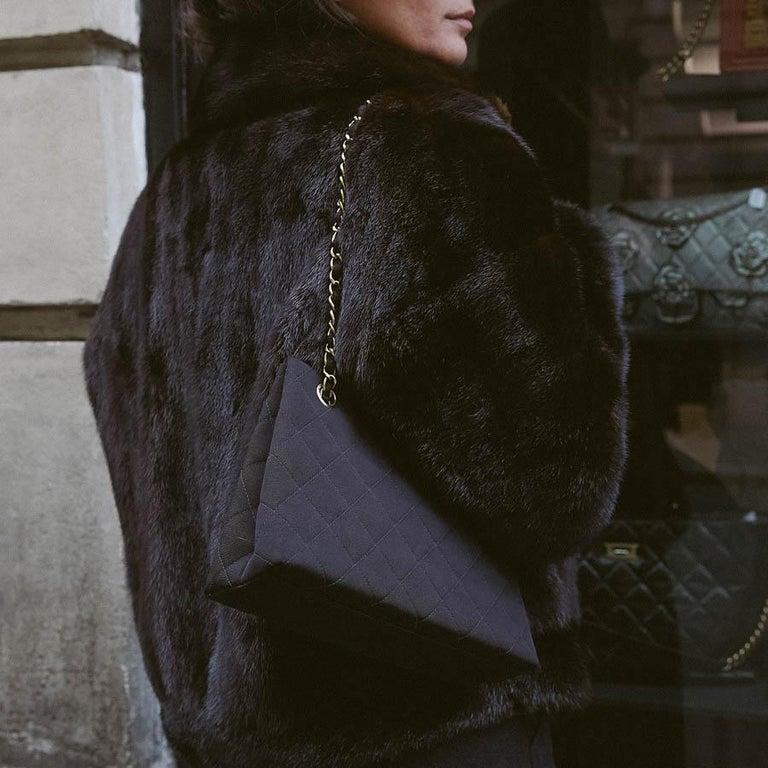 CHANEL Vintage Black Fabric Bag  1