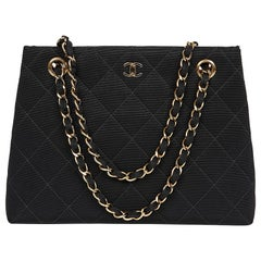 CHANEL Vintage Black Fabric Bag