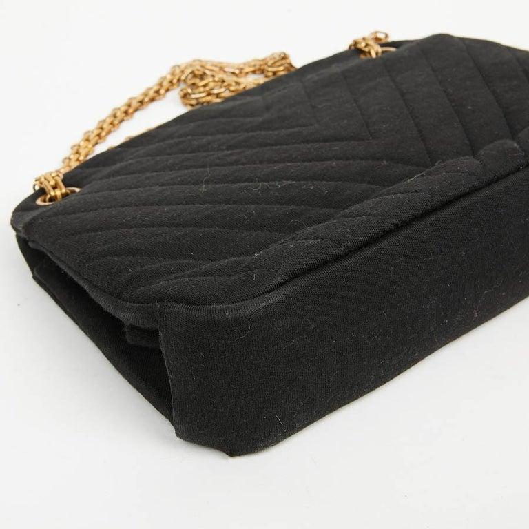 CHANEL Vintage Black Jersey Bag For Sale 1