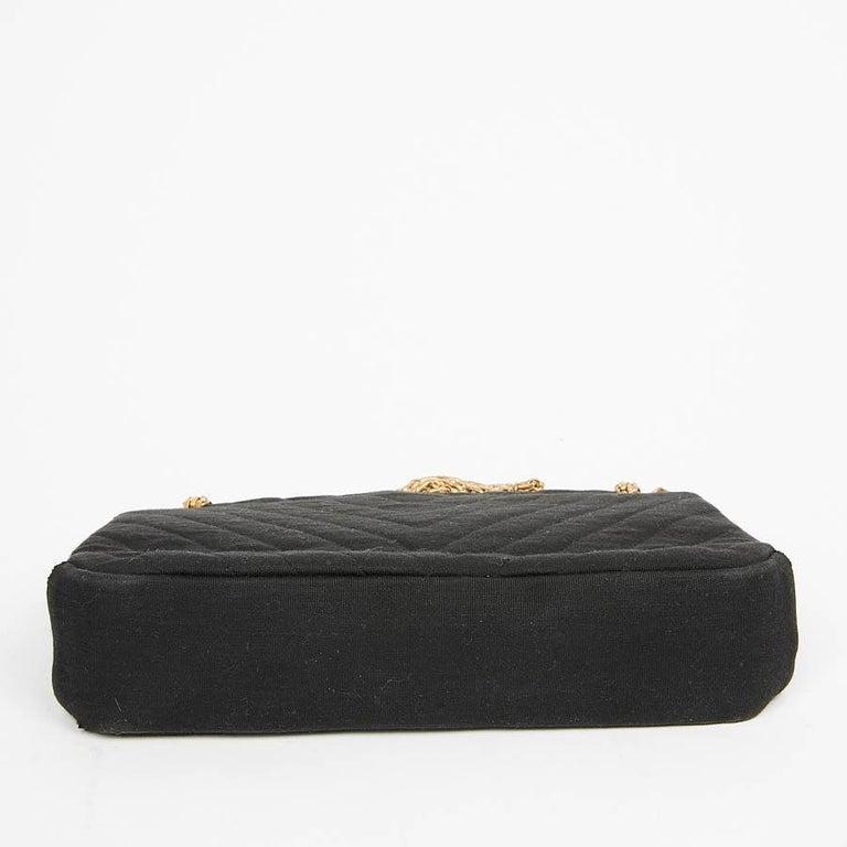 CHANEL Vintage Black Jersey Bag For Sale 2