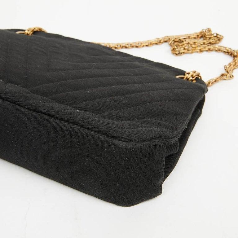 CHANEL Vintage Black Jersey Bag For Sale 3