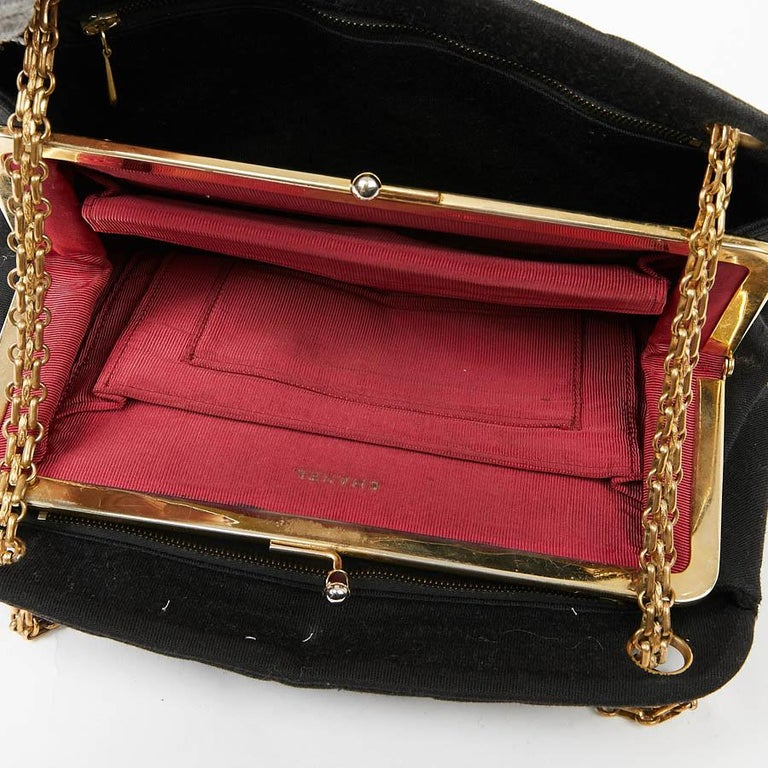 CHANEL Vintage Black Jersey Bag For Sale 5