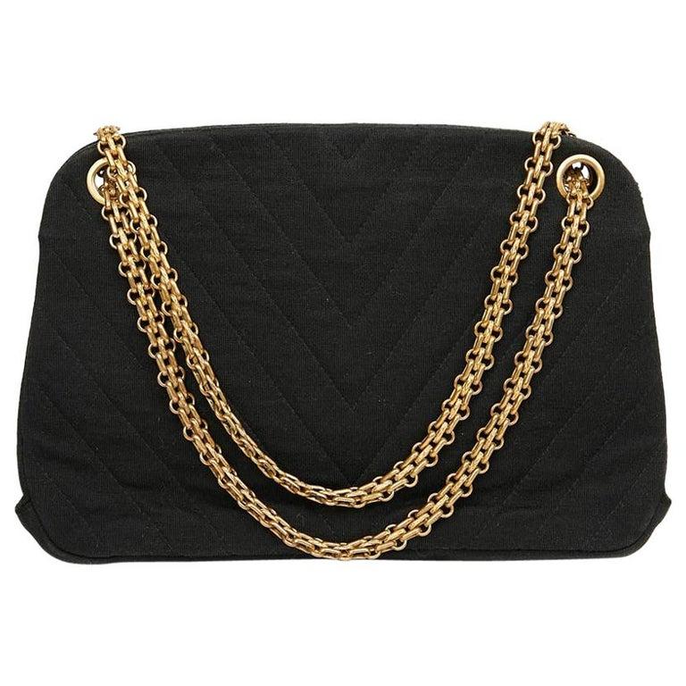 CHANEL Vintage Black Jersey Bag For Sale