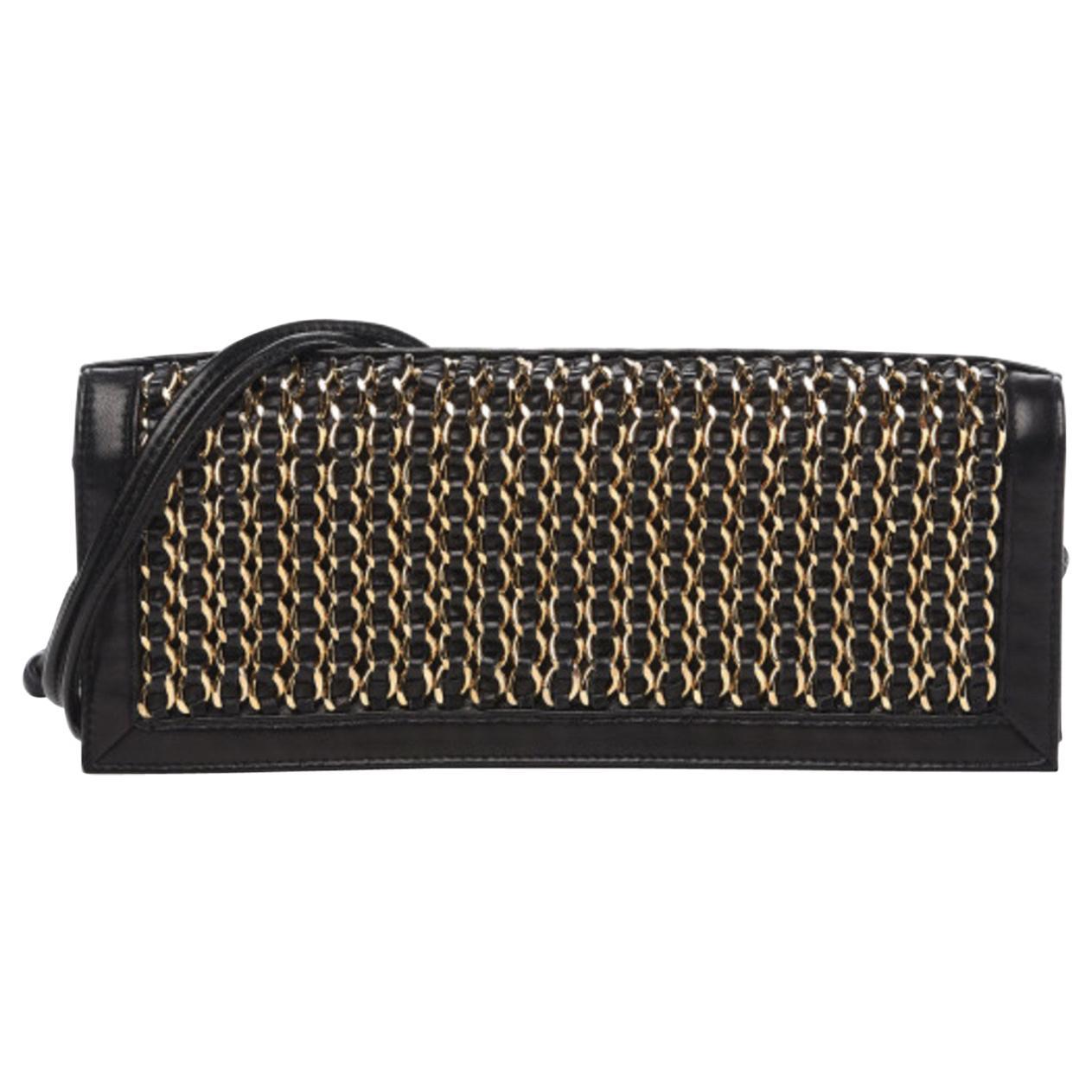Chanel Vintage Black Lambskin Chain Embellished Clutch Flap Bag