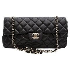 Chanel Vintage Black Lambskin East West Baguette Bag (circa 2009)