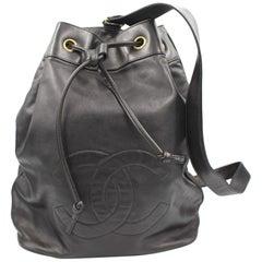 Chanel Vintage Black Lambskin  Leather  Backpack