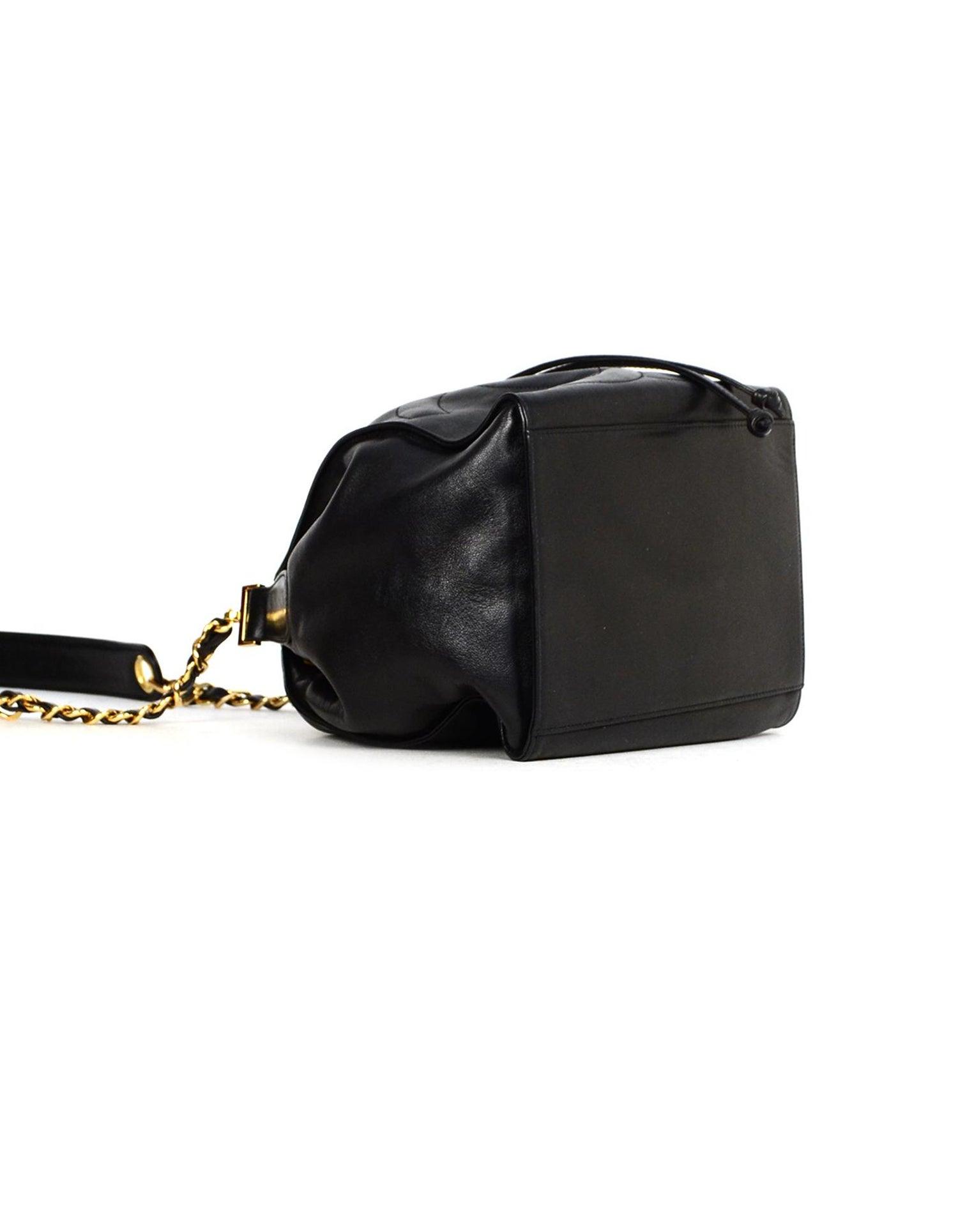 f4369bfbb8f9 Chanel Vintage Black Lambskin Leather CC Bucket Crossbody Bag W/ Insert For  Sale at 1stdibs