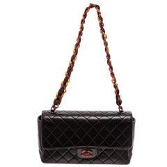 Chanel Vintage Black Lambskin Leather Tortoise Medium Flap Bag