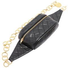 Chanel Vintage Black Lambskin Quilted Medallion Fanny Pack Waist Belt Bag Rare