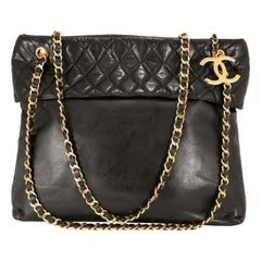 Chanel Vintage Black Lambskin Quilted Top Tote