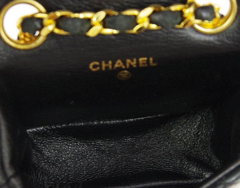 Chanel Vintage Black Leather 2 in 1 Micro Mini Flap Bag Waist Belt Chain For Sale 5