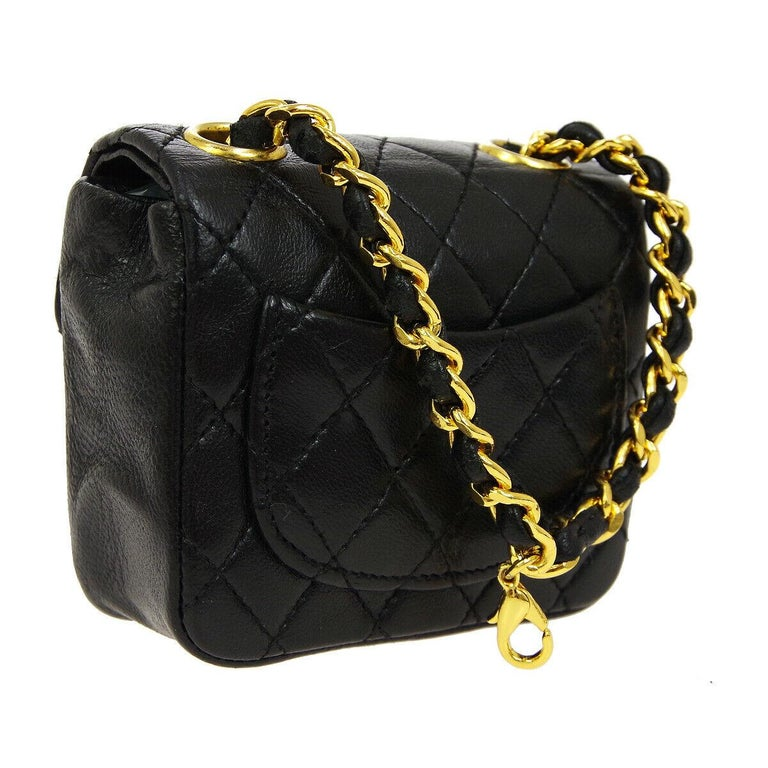 Women's Chanel Vintage Black Leather 2 in 1 Micro Mini Flap Bag Waist Belt Chain For Sale