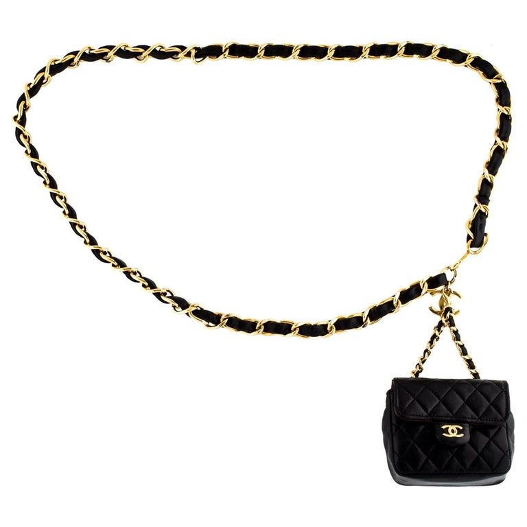Chanel Vintage Black Leather 2 in 1 Micro Mini Flap Bag Waist Belt Chain For Sale
