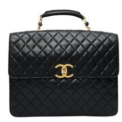 Chanel vintage black leather 24h handbag