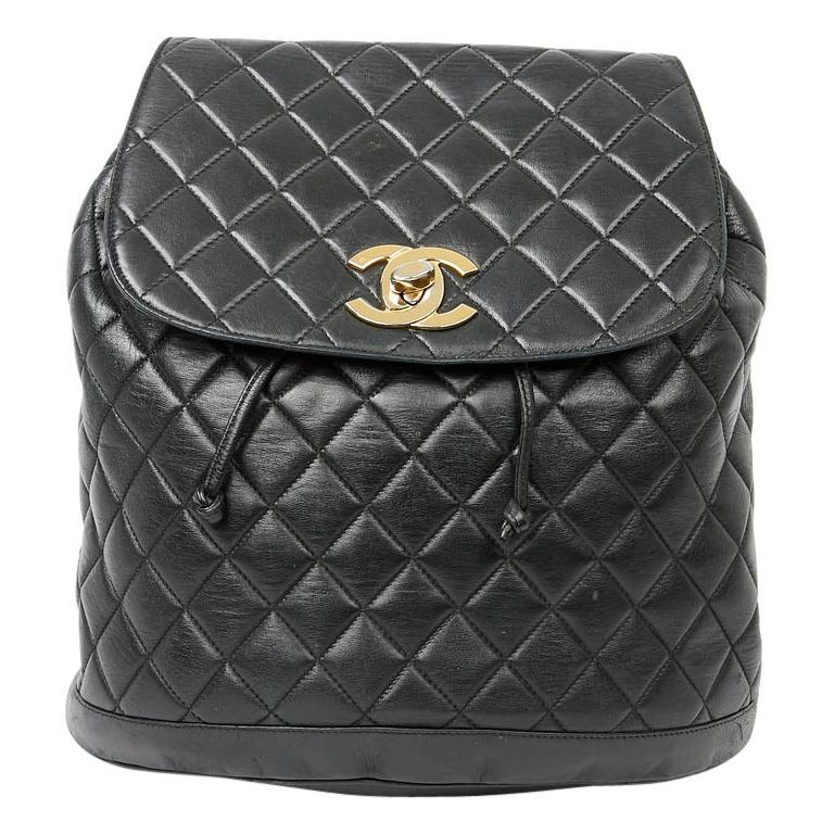 CHANEL Vintage Black Leather Backpack