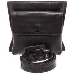 Chanel Vintage Black Leather CC Belt Waist Bag