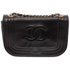 Chanel Vintage Black Leather CC Half Moon Shoulder Bag