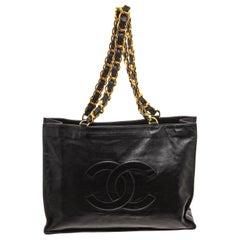 Chanel Vintage Black Leather CC Shopper Tote Bag