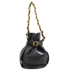 Chanel Vintage Black Leather Gold Buckle Bucke Mini Small Top Handle Bag
