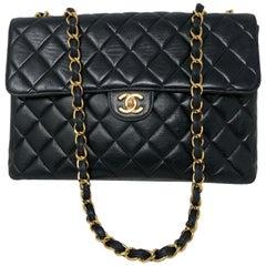 Chanel Vintage Black Leather Jumbo Flap Bag