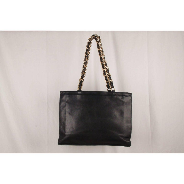 73641edc6d5a Women s Chanel Vintage Black Leather Logo Gold Chunky Chain Large Shopping  Bag For Sale