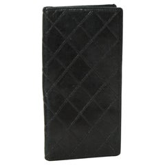 Chanel Vintage Black Leather Quilted Checkbook Cover/Wallet