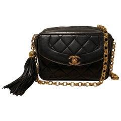 Chanel Vintage Black Leather Tassel Camera Bag
