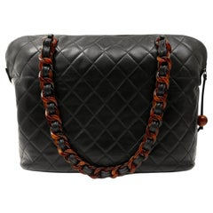 Chanel Vintage Black Leather Tortoise Chain Tote