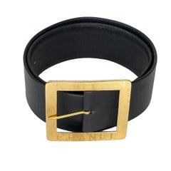 Chanel Vintage Black Leather Wasit Belt 1990 (75/30)